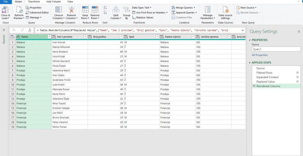 Excel powerQuery Kobeščak